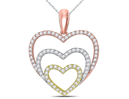 1/3 Carat (ctw J-K, I2-I3) Triple Heart Diamond Pendant Necklace in 10K Yellow, White, Rose Pink Gold with Chain