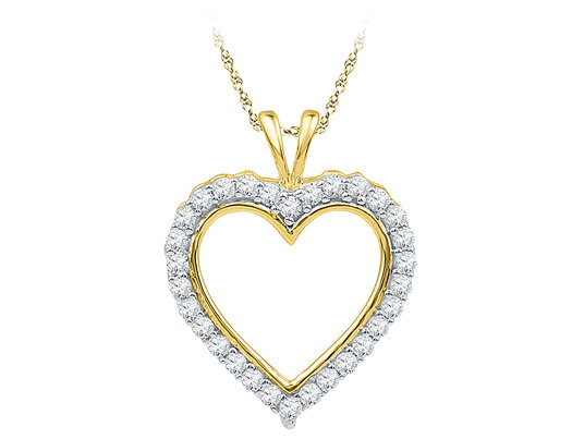 1/4 Carat (ctw J-K, I2-I3) Heart Diamond Pendant Necklace in 10K Yellow Gold with Chain