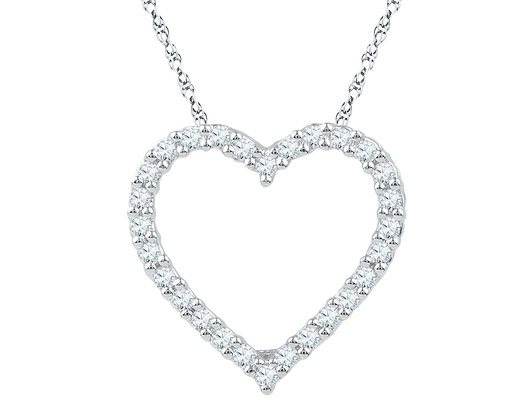 1/4 Carat (ctw J-K, I2-I3) Heart Diamond Pendant Necklace in 10K White Gold with Chain