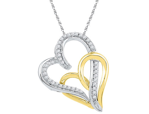 1/6 Carat (ctw J-K, I2-I3) Heart Diamond Pendant Necklace in 10K Yellow and White Gold with Chain