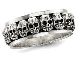 Men's Antiqued Polished Skull Ring in Sterling Silver
