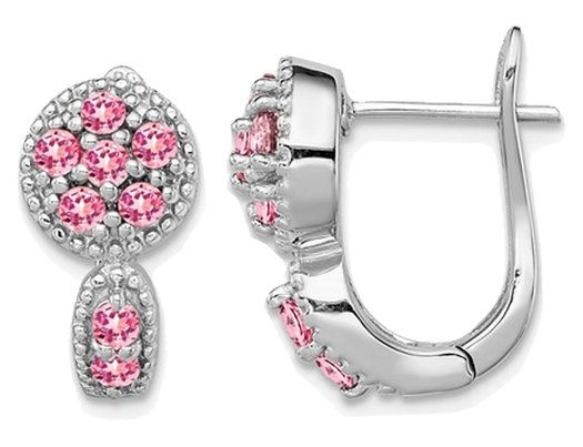 2/5 Carat (ctw) Pink Tourmaline Hoop Earrings in Sterling Silver