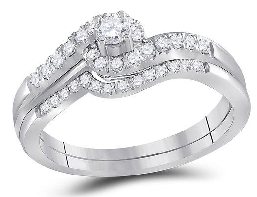 3/5 Carat (Color H-I, I1-I2) Diamond Engagement Ring Bridal Wedding Set in 10K White Gold
