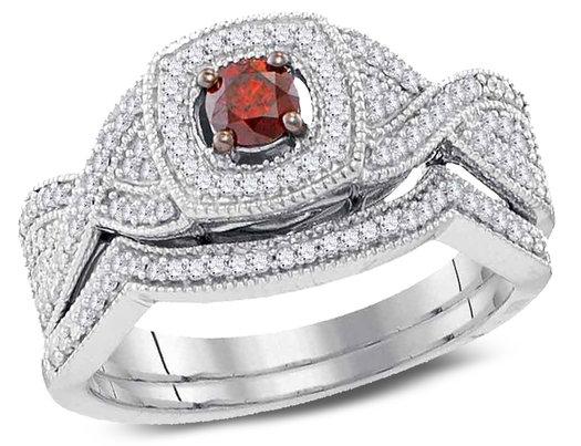 1/2 Carat (Color J-K, I2-I3) Red Diamond Engagement Ring Bridal Wedding Set in 10K White Gold