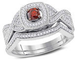 1/2 Carat (Color J-K, I2-I3) Red Diamond Engagement Ring Bridal Wedding Set in 10K White Gold