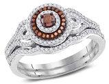 1/2 Carat (Color H-I, I1-I2) Red Diamond Engagement Halo Ring Bridal Wedding Set in 10K White Gold