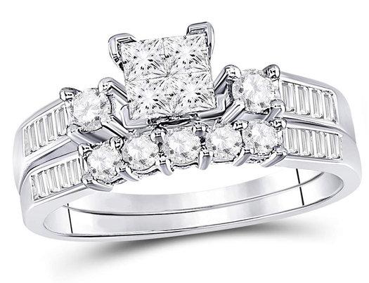 9/10 Carat (Color H-I, I1-I2) Princess Cut Diamond Engagement Ring Bridal Wedding Set in 10K White Gold