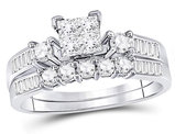 9/10 Carat (Color H-I, I1-I2) Princess Cut Diamond Engagement Ring Bridal Wedding Set in 10K White Gold