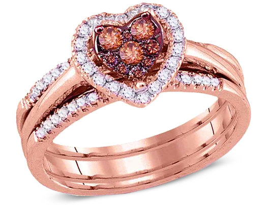 1/2 Carat (I1-I2) Champagne Cognac Diamond Heart Engagement Ring Bridal Wedding Set in 14K Rose Pink Gold