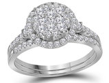 1.00 Carat (ctw H-I, I1-I2) Diamond Cluster Engagement Ring Bridal Wedding Set in 14K White Gold