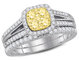 9/10 Carat (ctw H-I, I1-I2) Yellow Diamond Engagement Ring Bridal Wedding Set in 14K White Gold