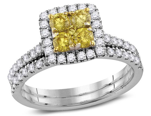 1.25 Carat (ctw H-I, I1-I2) Canary Yellow Diamond Engagement Ring Bridal Wedding Set in 14K White Gold