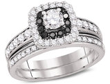 7/8 Carat (Color H-I, I1-I2) Black Diamond Engagement Halo Ring Bridal Wedding Set in 14K White Gold