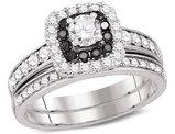 7/8 Carat (Color H-I, I1-I2) Diamond Engagement Halo Ring Bridal Wedding Set in 14K White Gold