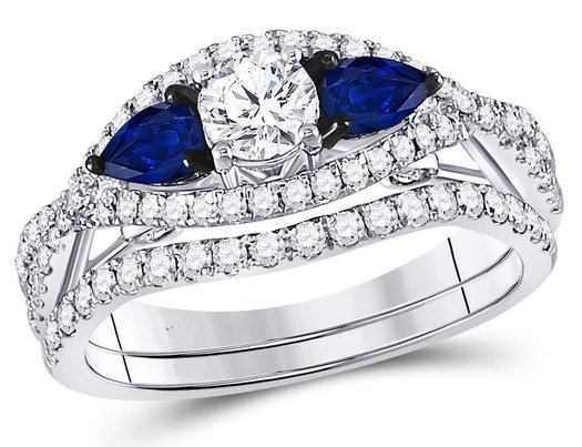 1.35 Carat (G-H, I1-I2) Diamond Engagement Ring Bridal Wedding Set in 14K White Gold with Blue Sapphires