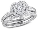 3/4 Carat H-I, I1-I2) Diamond Heart Engagement Ring Bridal Wedding Set in 14K White Gold