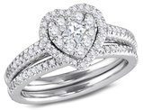 3/4 Carat H-I, I1-I2) Diamond Heart Engagement Ring Bridal Wedding Set in 14K White Gold