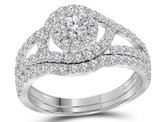 7/8 Carat (G-H, I1) Diamond Engagement Halo Ring Bridal Wedding Set in 14K White Gold