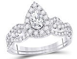 7/8 Carat (Color G-H, SI2) Marquise Cut Diamond Engagement Ring Bridal Wedding Set in 14K White Gold