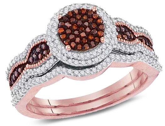 1/2 Carat (ctw I2-I3) Red Diamond Cluster Engagement Cluster Ring Bridal Wedding Set in 10K Rose Pink Gold