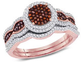 1/2 Carat ( I2-I3) Red Diamond Engagement Cluster Ring Bridal Wedding Set in 10K Rose Pink Gold