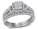 7/8 Carat (Color H-I, I2-I3) Princess Cut Diamond Engagement Ring Bridal Wedding Set in 14K White Gold