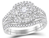7/10 Carat (Color H-I, I1-I2) Diamond Engagement Halo Ring Bridal Wedding Set in 14K White Gold