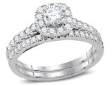 7/8 Carat (Color H-I, I1-I2) Diamond Engagement Halo Ring Bridal Wedding Set in 14K White Gold