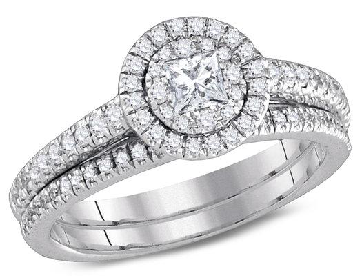 3/4 Carat (Color G-H, I1) Princess Cut Diamond Engagement Halo Ring Bridal Wedding Set in 14K White Gold