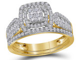 1.00 Carat (Color I-J, I2-I3) Princess Cut Diamond Engagement Halo Ring Bridal Wedding Set in 14K Yellow Gold