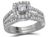 1.00 Carat (Color G-H, I1) Princess Cut Diamond Engagement Halo Ring Bridal Wedding Set in 14K White Gold