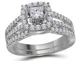 1.00 Carat (Color G-H, I1) Princess Cut Diamond Engagement Halo Ring Bridal Wedding Set in 14K White Gold