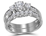 7/8 Carat (Color G-H, I1) Three Stone Diamond Engagement Ring Bridal Wedding Set in 14K White Gold
