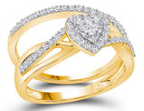 4/5 Carat J-K, I2-I3) Diamond Heart Engagement Ring Bridal Wedding Set in 14K Yellow Gold