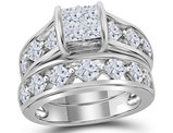 2.85 Carat (Color H-I, I1) Princess Cut Diamond Engagement Ring Bridal Wedding Set in 14K White Gold