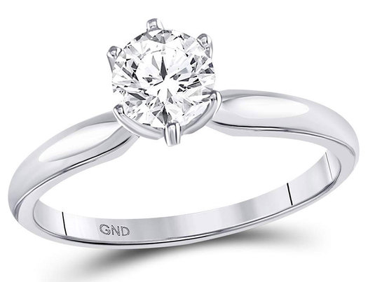 3/4 Carat (ctw J-K , I3) Diamond Solitaire Engagement Ring in 14K White Gold