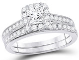 1.25 Carat (ctw G-H, I1) Princess-Cut Halo Diamond Engagement Ring Bridal Wedding Set in 14K White Gold