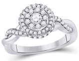 2/3 Carat (ctw H-I, I1-I2) Diamond Engagement Twist Ring in 10K White Gold