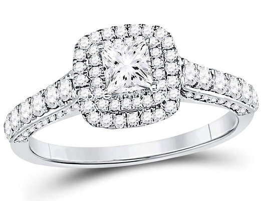 7/8 Carat (Color G-H, I1) Princess Cut Diamond Engagement Ring in 14K White Gold