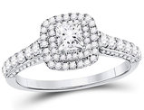 7/8 Carat (ctw G-H, I1) Princess Cut Diamond Engagement Ring in 14K White Gold