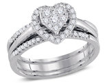 1/2 Carat H-I, I1-I2) Diamond Heart Engagement Ring Bridal Wedding Set in 10K White Gold