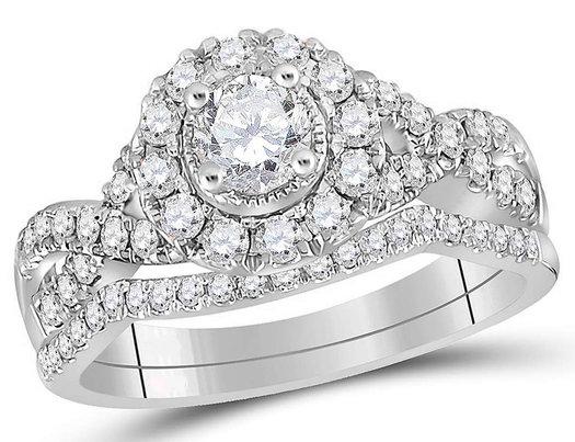 7/8 Carat (Color H-I, I1-I2) Halo Diamond Engagement Ring Bridal Wedding Set in 14K White Gold
