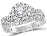 7/8 Carat (Color H-I, I1-I2) Halo Diamond Engagement Ring Bridal Wedding Set in 14K White Gold