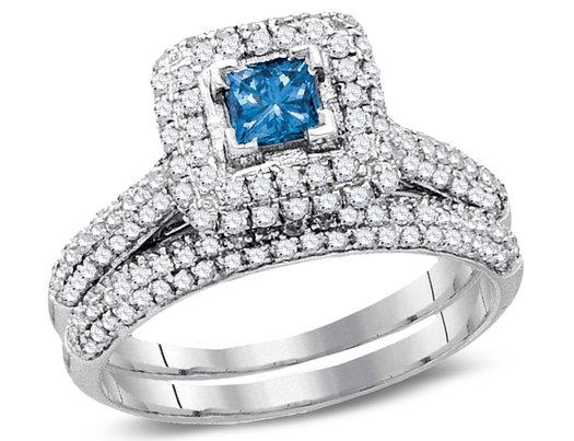 1.25 Carat (H-I, I2-I3) Blue Diamond Engagement Ring Bridal Wedding Set in 14K White Gold