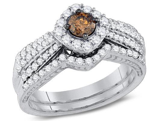 1.00 Carat (ctw I1-I2) Champagne Brown Diamond Engagement Ring Bridal Wedding Set in 14K White Gold