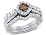 1.00 Carat (ctw I1-I2) Champagne Brown Diamond Engagement Ring Bridal Wedding Set in 14K White Gold