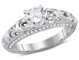 1.00 Carat (ctw G-H, SI3-I1) Solitaire Diamond Engagement Ring in 14K White Gold