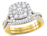 7/8 Carat (Color G-H, I1) Diamond Engagement Ring Bridal Wedding Set in 14K Yellow Gold
