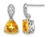 2.90 Carat (ctw) Citrine Dangle Post Earrings in Sterling Silver