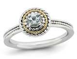 1/4 Carat (ctw) Natural Aquamarine Ring in Sterling Silver with 14K Accent